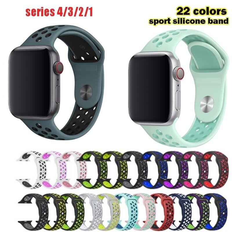 Силиконовый ремешок для часов apple watch 4/2/1, 38 мм, 42 мм, 40 мм, 44 мм, для iwatch 5, спортивный браслет