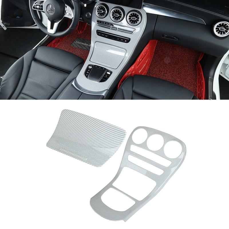 Car ABS Carbon Fiber Center Console Gear Shift Panel Cover Trim for Mercedes Benz GLC Class 2019 2020