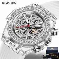 KIMSDUN New Men's Quartz Watch Women's Fashion Luxury Diamond Silicone Strap Date Display Waterproof Quality Watch Relogio Wrist