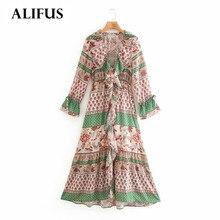 Fashion Za Women 2020 Alifus Vintage Chiffon Dress Long Sleeve V-Neck Cascading Ruffle Dresses Female Elegant stylish Vestidos