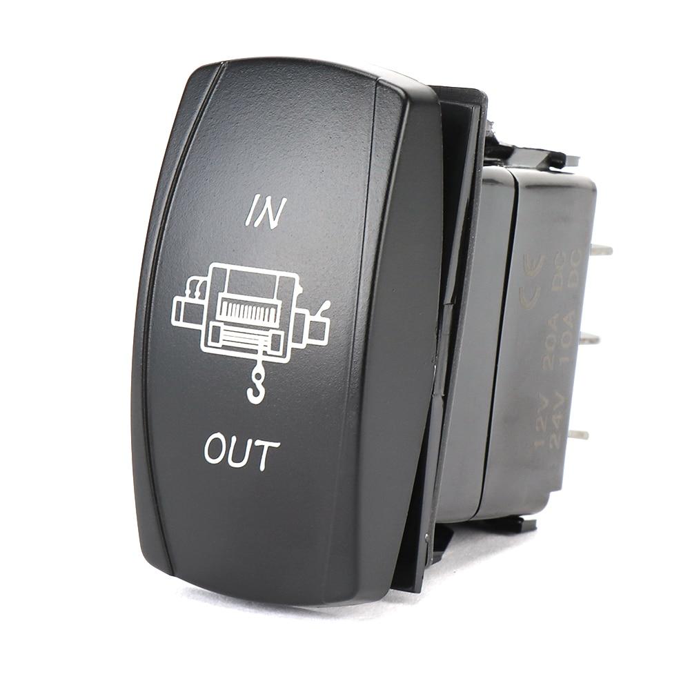 KEMIMOTO 12V 20A Blue Light Winch In/Out Rocker Switch Button  ATV for Polaris Ranger RZR XP 1000 RZR XP 900 2016 2017