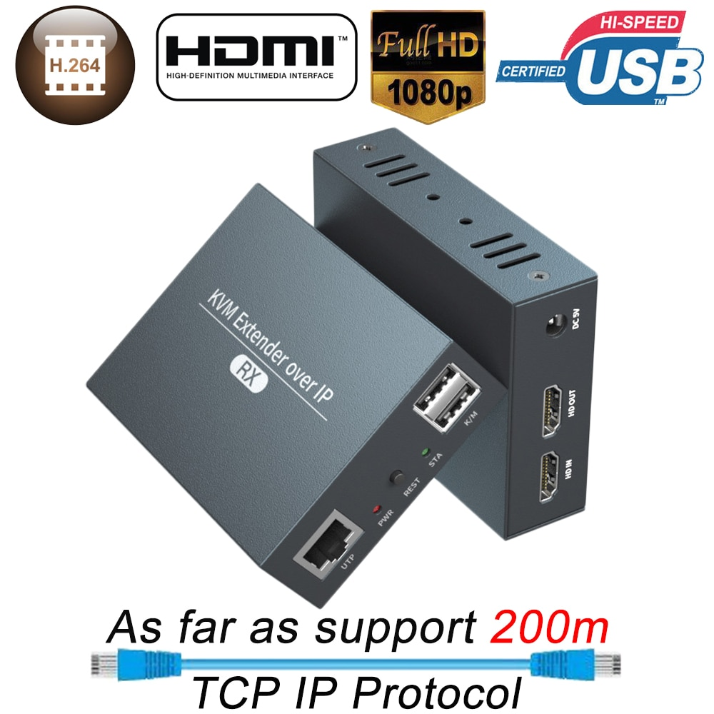 2021 Navceker HDMI KVM Extender Over IP RJ45 Ethernet Network KVM Extender USB HDMI 200M Over UTP/STP KVM Extender CAT5 CAT6 usb kvm extender lossless and no latency hdmi transmitter and receiver over single cat5e 6 utp ethernet cable hdmi kvm extender