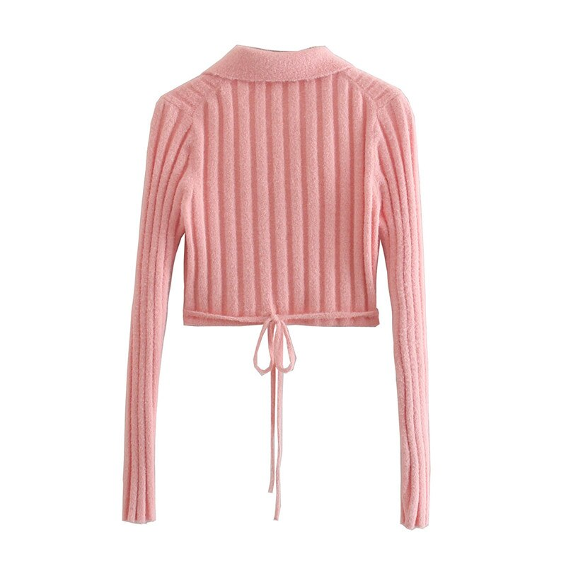 Women's Sweater Solid Cross V-Neck Lace Up Bow Jumpers Long Sleeve Cardigan Female Spring Knitted Coat enlarge