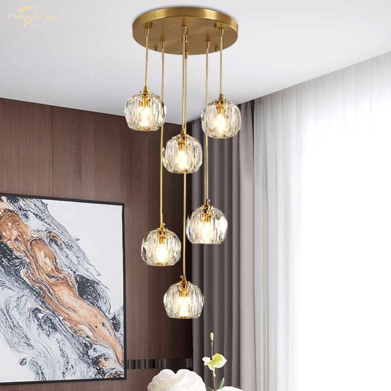 Nordic Crystal LED Chandeliers Lighting Postmodern Metal Ball Pendant Lights Fixture Decor Bedroom Living Room Staircase Lamps