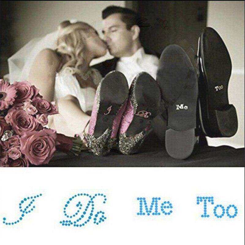 Decoración de boda I do, me too Silver Rhinestones autoadhesivo zapato pegatina para novia nupcial ducha fiesta decoración suministros-S