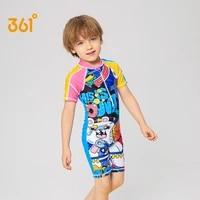 361 boys short sleeve one piece swimsuit cute breathable quick dry zipper waterproof childrens swimwear for kids