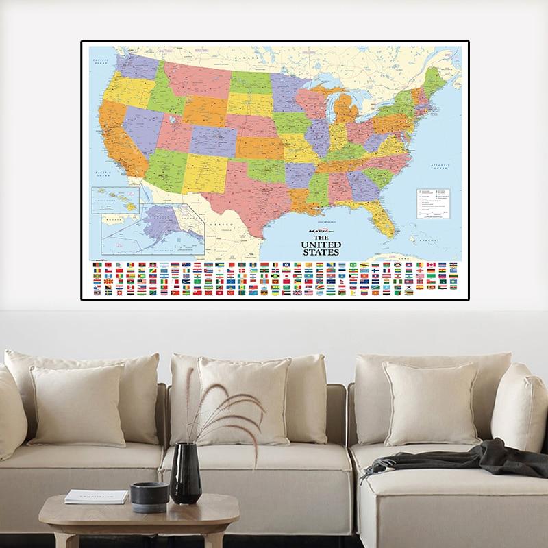 150*100 см карта США с национальными флагами, подробная карта США, винтажная картина Vanvas, настенный плакат, домашний декор