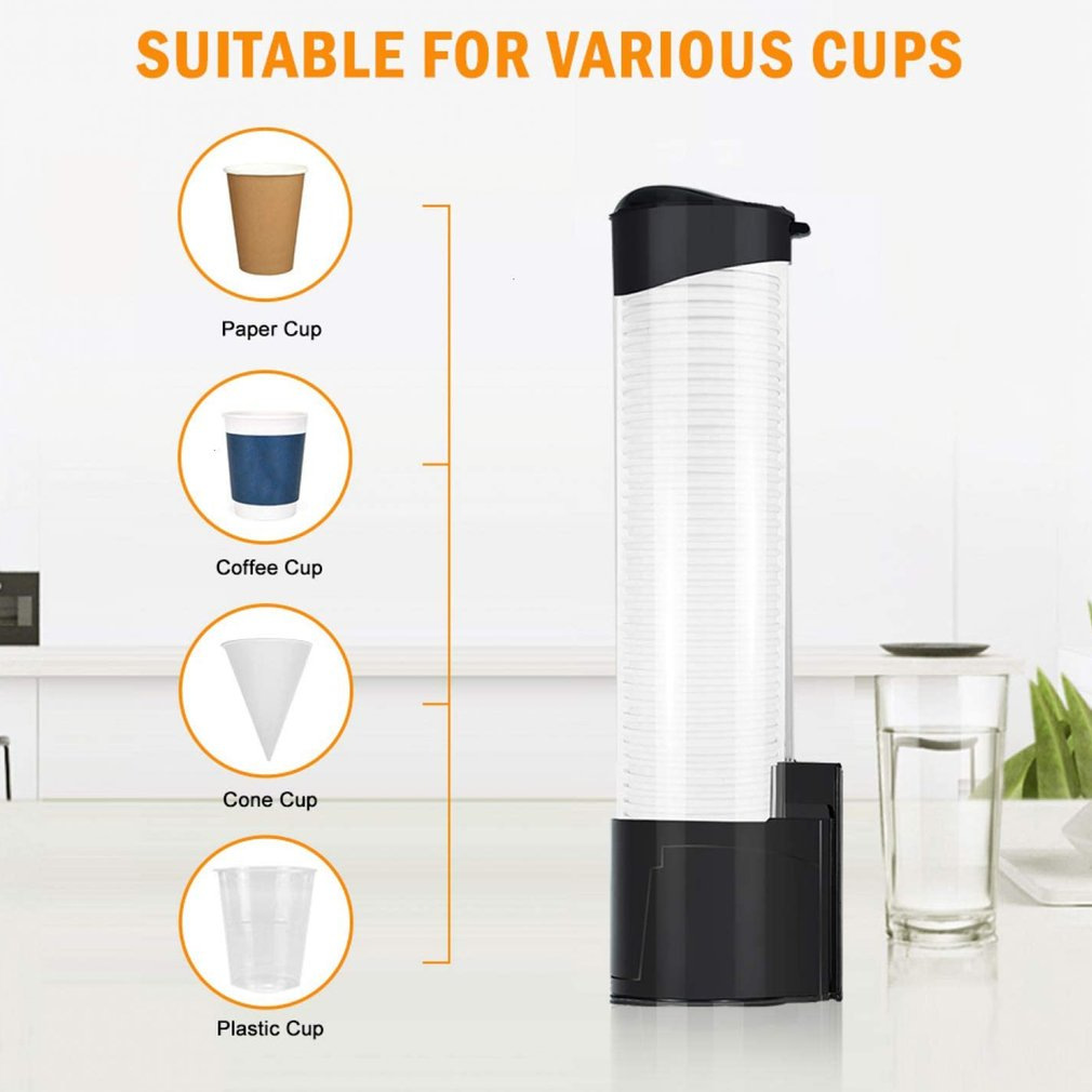 High-quality Automatic Cup Remover Paper Cup Holder Wall-mounted Disposable Cup Holder Dustproof With Cover Cup Dispenser