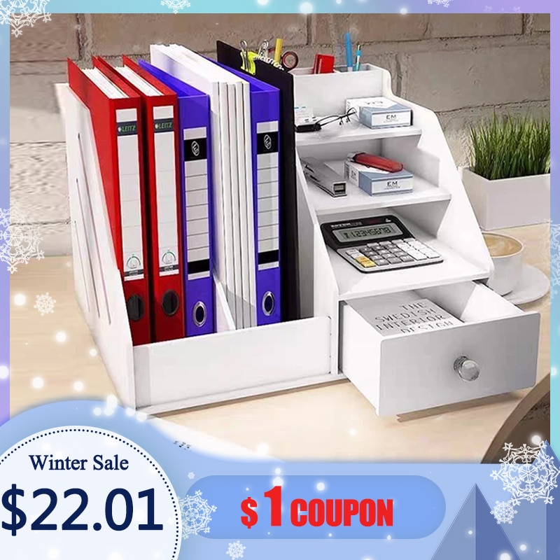 Magazine Holder Newspaper Rack Stationery Storage Box Desk Organizer for Document Letter File Tray H