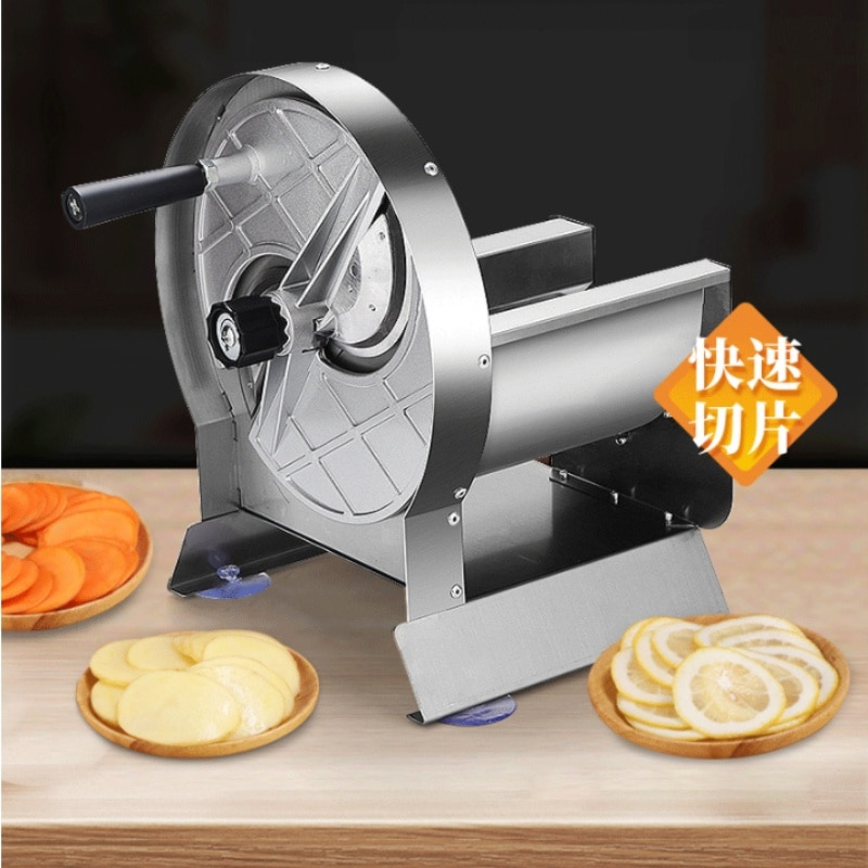 التجارية قطع اللحوم البطاطس Slicer شفرات مزدوجة الليمون Slicer التجارية دليل فاكهة من الفولاذ المقاوم للصدأ القطاعة الجزرة كرنك اليد