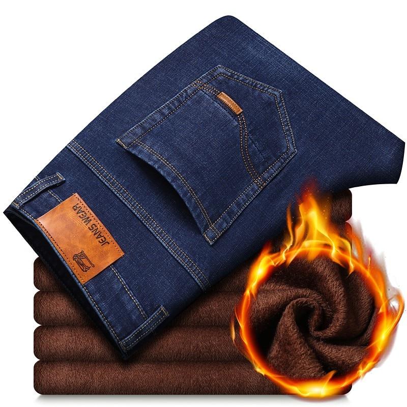 2021 зимние теплые мужские джинсы с флисовой подкладкой, толстые Стрейчевые джинсы, прямые мужские брендовые хлопковые брюки, мужские больши...