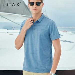 UCAK Brand Classic Turn-down Collar Striped T-Shirt Men Clothes Summer New Fashion Style Streetwear Casual Cotton Tee Tops U5585
