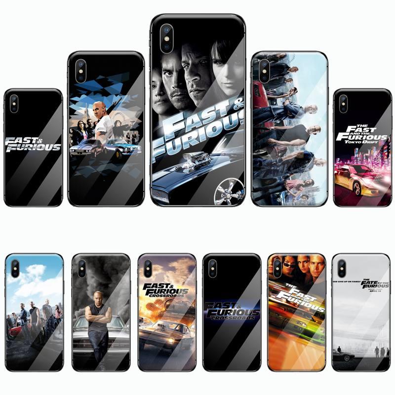 Rápido y furioso pintado teléfono caso de vidrio templado para iphone 6 iphone 6 6S 7 8 plus X XS X XR 11 PRO MAX