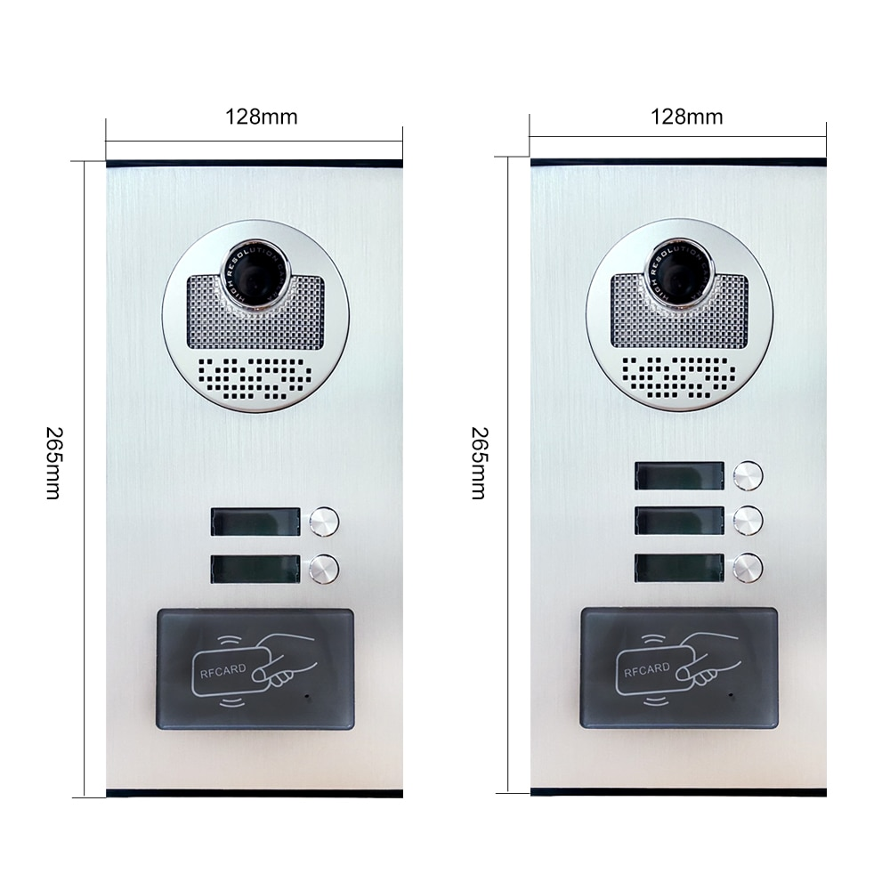 7'' TFT Screen Wired Video Intercom System RFID Access Entry Camera Doorbell 2 Monitors for Multi- Apartments/Home Security enlarge