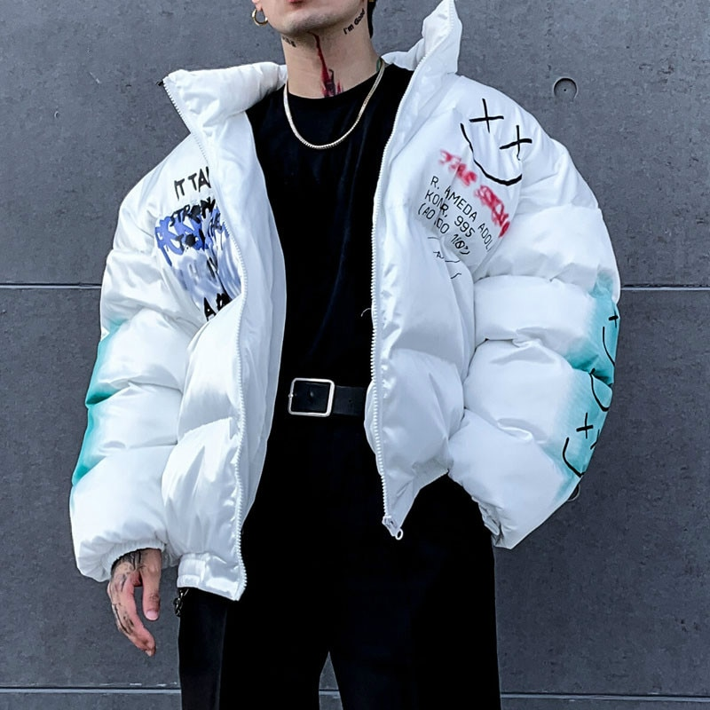 Padded Cotton Parkas Men Graffiti Print Bear Streetwear Hip Hop Casual Thick Warm Smiley Jackets Coats Male Winter Windbreaker