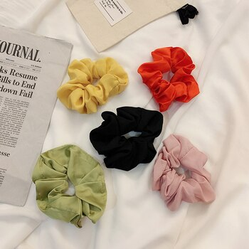 Korean Style Internet Celebrity Large Intestine Hair Band Ins Style French Silk Satin Ponytail Solid Color Headband Bun Hair