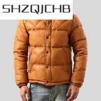 shzq genuine leather jacket men clothing 2021 real sheepskin coat mens warm duck down coat plus size chaqueta cuero hombre 711