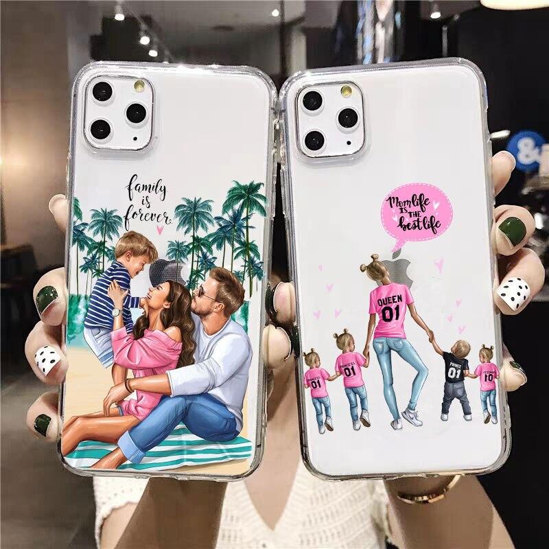 PUNQZY Fashion mama of girl boy Super mom baby cute phone Case For iPhone 11 PRO MAXXR 7 7S 6 6s 8 Plus X XS MAX Soft TPU case