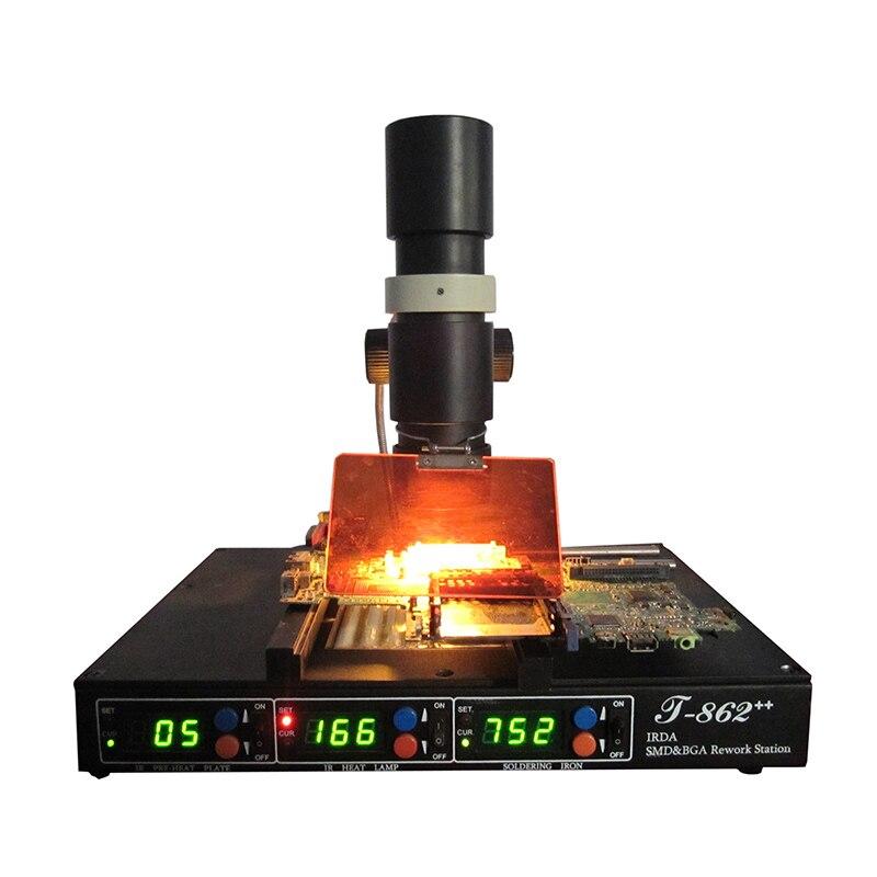 PUHUI T-862 ++ محطة مصباح الأشعة تحت الحمراء آلة إعادة العمل بغا مصلحة الارصاد الجوية SMT desolding لحام IC