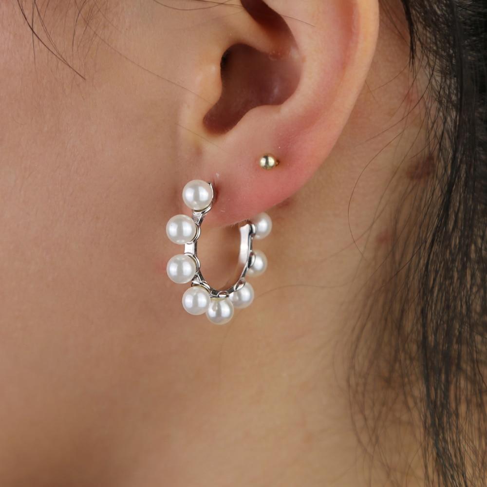 Женские серьги с геометрическим кольцом fresh sea pearl, серьги из стерлингового серебра 925 пробы высокого качества