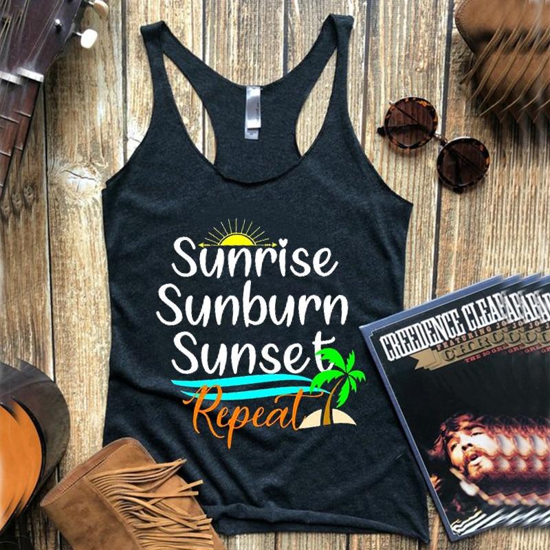 2019 tengo que tener un violín en la banda tanque música de país tanques Sunrise Womens país superior Rodeo camisetas verano vacaciones ropa
