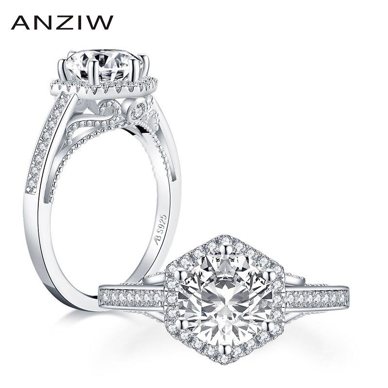 AINUOSHI lujo 925 plata esterlina 2CT corte redondo Halo Anillo Compromiso diamante simulado boda geométrica anillo de plata joyería
