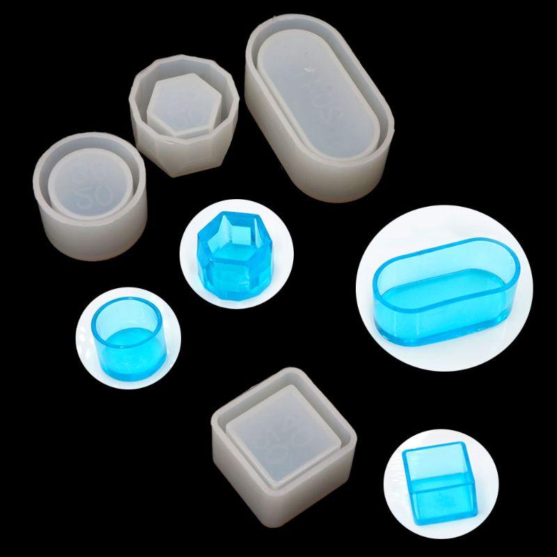 4Pcs DIY Box Silicone Resin Molds Kit Mini Round Square Flower Pot Storage Mold
