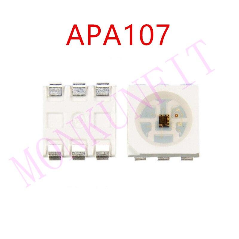 Nuevo 3k 5V APA107 Chip LED SMD 5050 RGB APA102 Chip 6 pines SMD 5050 RGB incorporado APA107 IC (actualización APA102) 0,2 W 60mA SOP-6 DAT CLK