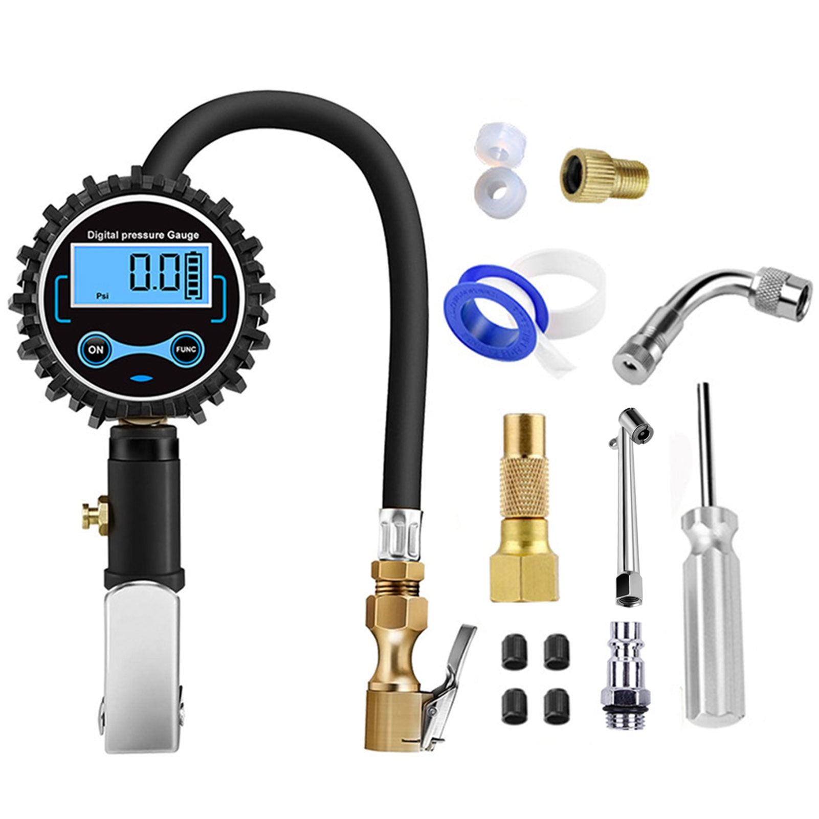 Tyre Digital Display Inflation Meter Set High Precision Digital Display Tire Inflation Gun Pressure Gauge For Motorcycles Cars