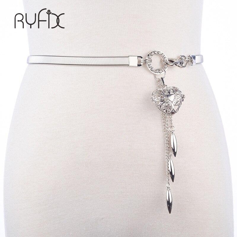Cinturones de mujer, cinturón de oro caliente, cadena elástica de Metal estirable, correa ajustable de plata, cadena de cintura de lujo, vestido con colgante de corazón BL270