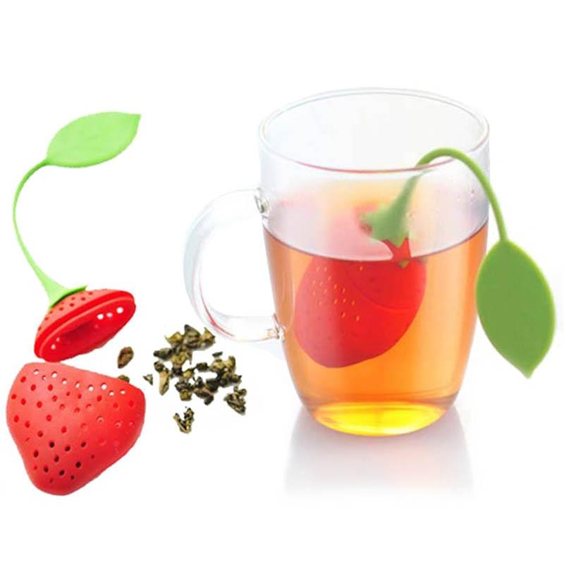 Fontes de Cozinha Filtro de Chá Não-tóxico Morango Forma Silicone Chá Infusor Bolsa Bule Acessório 1 pc