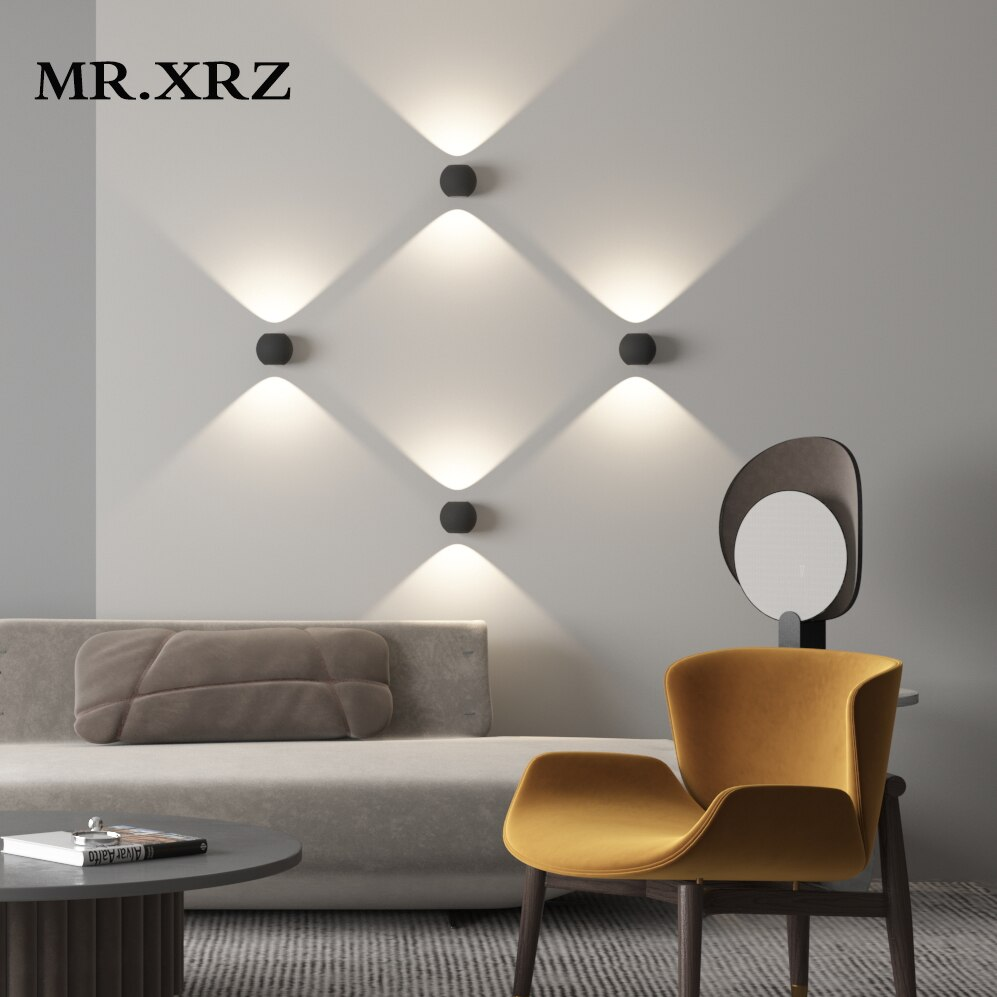 MR.XRZ IP55 LED 6 واط في الهواء الطلق مقاوم للماء الجدار مصباح مصباح حديقة الألومنيوم داخلي الممر الدرج غرفة نوم الجدار الخفيفة