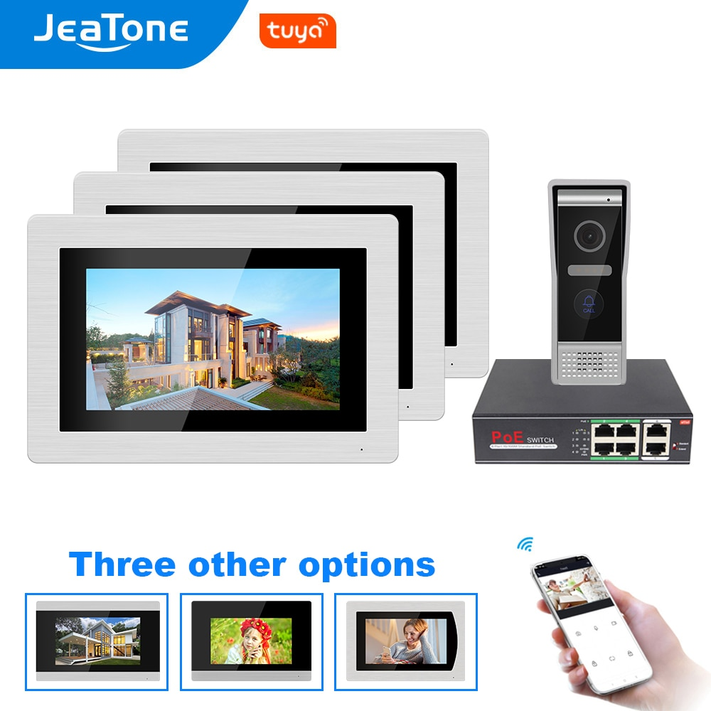 JeaTone Tuya Smart app WIFI IP 7 inch Touch Screen Video Door Phone Intercom Wired Door Bell Door Speaker Access Control System
