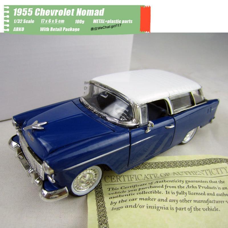 ARKO 1/32 escala clásica serie de coches Chevrolet de 1955 nómada Diecast Metal de juguete de modelo de coche para regalo niños colección