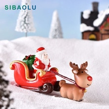 New Christmas Sled Deer model cartoon animal Figurine Dollhouse cake home decor miniature fairy garden decoration accessories