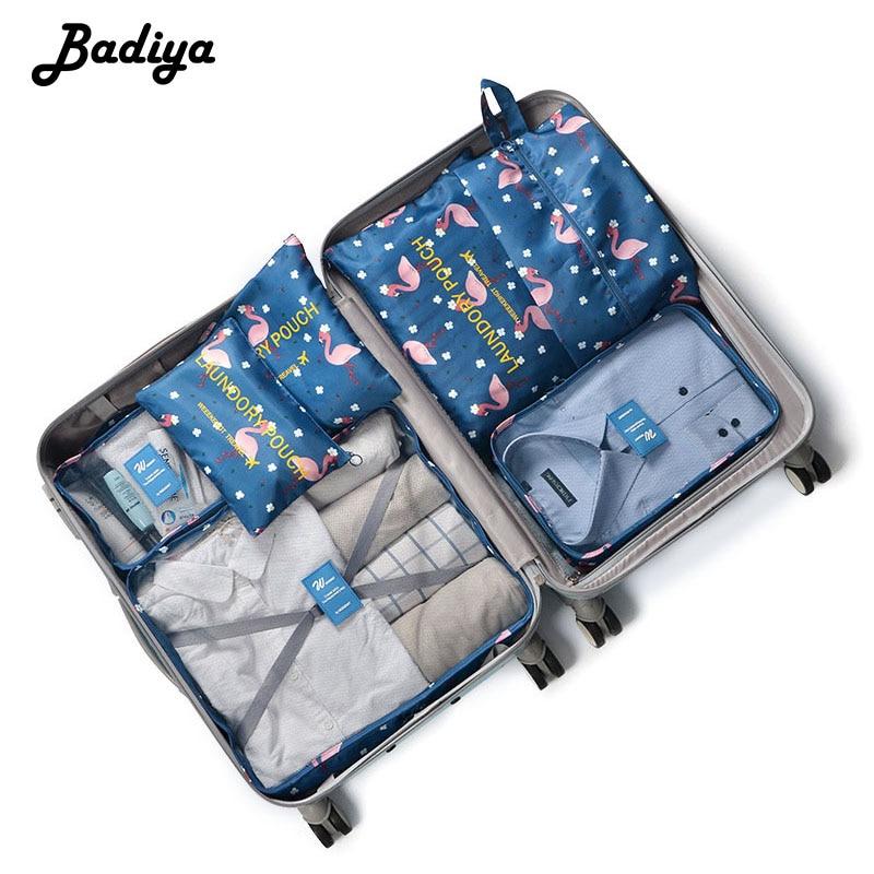 7 PCS Travel Organizer Storage Bag Set Waterproof for Clothes Tidy Organizer Travel Organizer Bag Case Shoes Packing Cube Bag