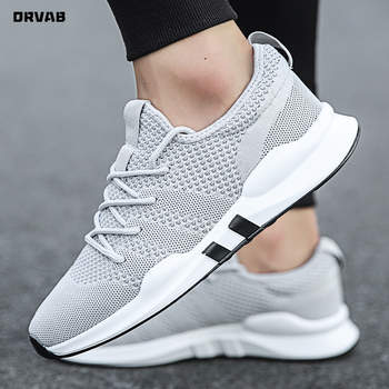 Men Shoes Summer Brand Fashion Men Casual Shoes Lightweight Breathable Men Sneakers Lace Up Gray White Black Red Tenis Man Shoes