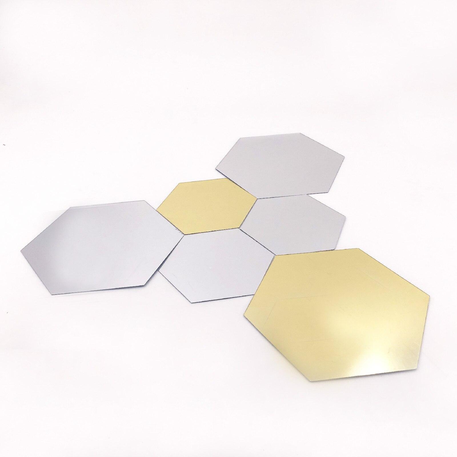12 pçs 3d espelhos decorativos hexágono vinil removível adesivo de parede decalque decoração para casa arte diy venda quente civil ornamental