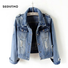 SEDUTMO Plus Size 6XL Ripped Jean Jacket Women  Denim Coat Boyfriend Streetwear Harajuku Vintage Aut