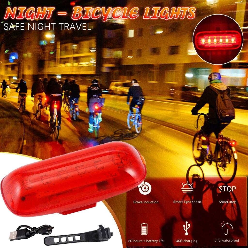 Luz trasera recargable por Usb para bicicleta, inteligente, resistente al agua, Luces...