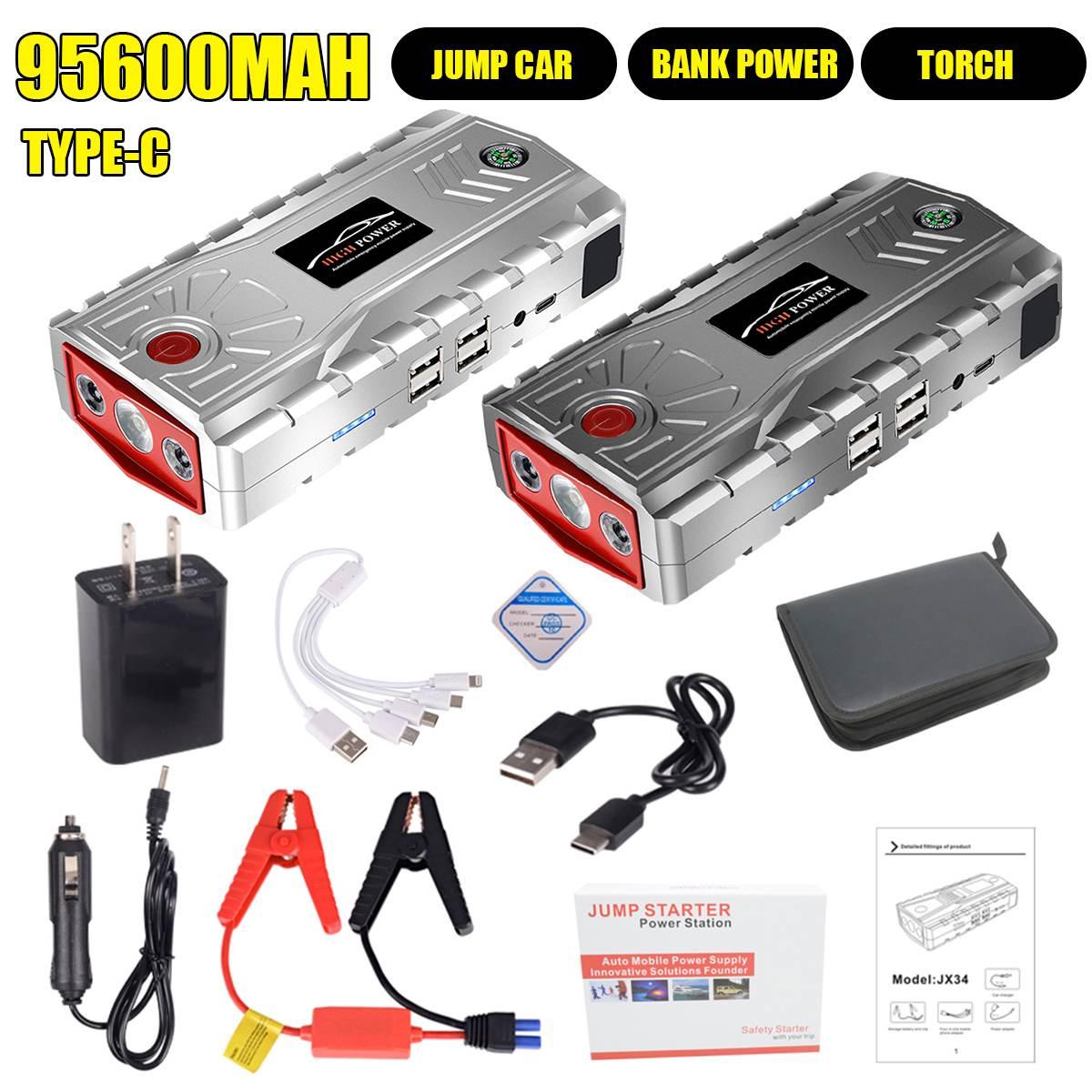 Carregador para carro, bateria de emergência portátil, 95600mah, lanterna led 4 usb tipo c