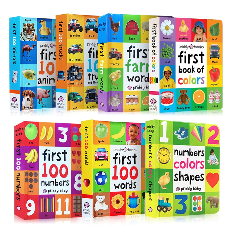 Books For Kids Early Education First 100 Animals Words In English Hardcover Board Book Children Learning English Picture Books