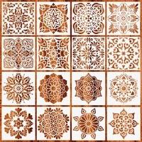 16pcsset mandala stencils diy drawing template painting scrapbooking paper card embossing album decorative craft