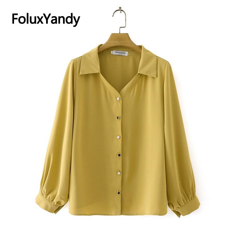Turn-down Collar Chiffon Blouse Plus Size Women Shirts Casual Spring Autumn Loose Long Sleeve Blouse Chemise KKFY5667