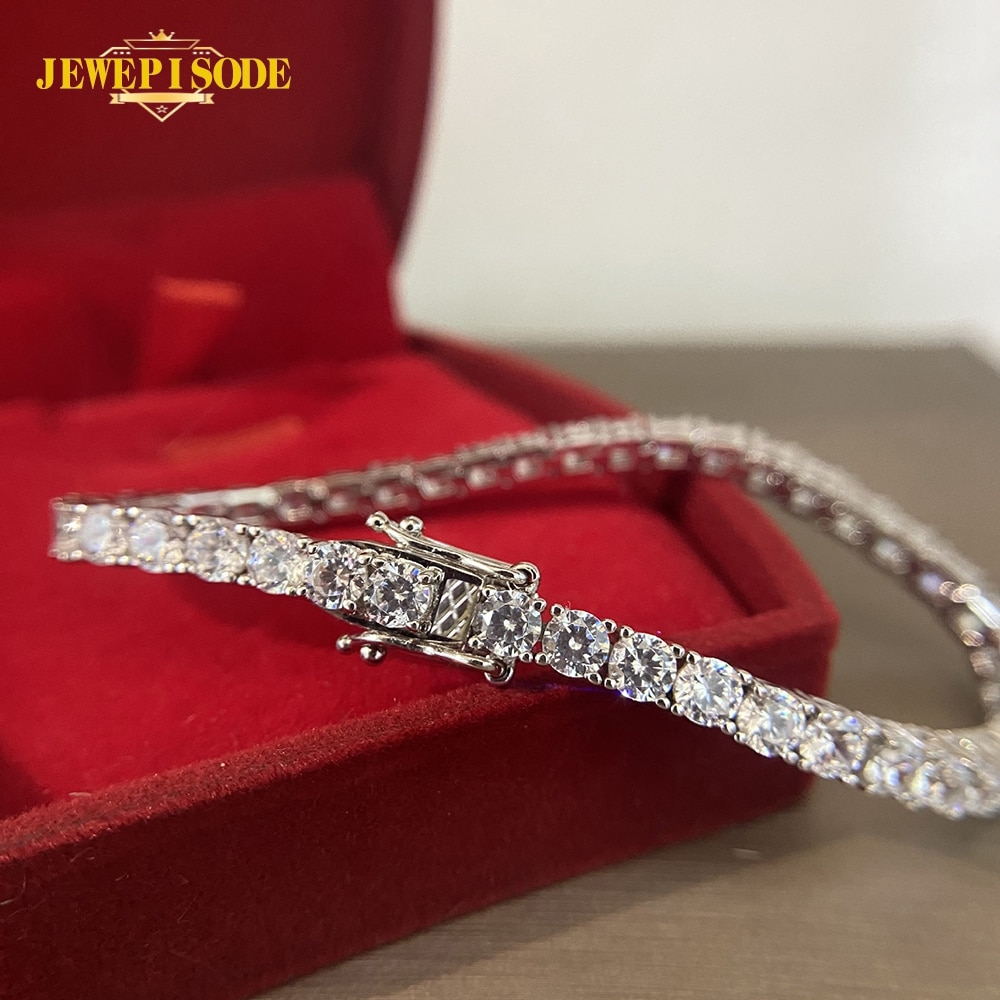 Jewepisode Charm Bracelets Women Solid Silver 925 Jewelry Round Created Moissanite Diamond Wedding Party Bracelet Drop Shipping