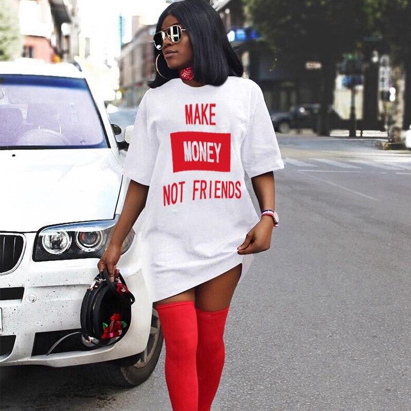 Streetwear, camiseta de gran tamaño, vestido de mujer de talla grande, Mini Vestido corto de verano 2020, vestido informal holgado con estampado de letras para mujer