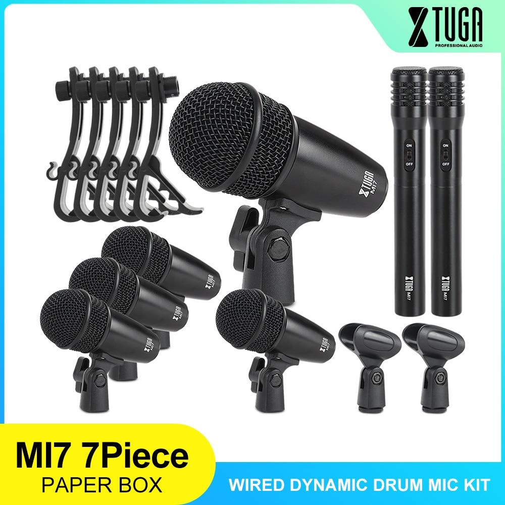 XTUGA MI7CH 7-قطعة السلكية الديناميكي طبل Mic كيت (كله المعادن)-ركلة باس ، توم/كمين و الصنج ميكروفون مجموعة-استخدام ل الطبول
