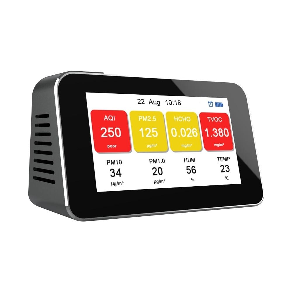 Detector de Formaldeído Testador de Análise da Qualidade do ar Digital Casa Smog Medidor Hcho Tvoc Pm2.5 Pm10 Pm1.0 Sensor Monitor Despertador