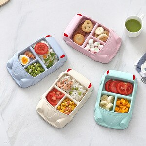 Cartoon Car Plate Baby Dishes Set Bamboo Fiber Babies Feedding Plates Bowl Kitchen Tableware Set Feeding Dishes Children's Gift