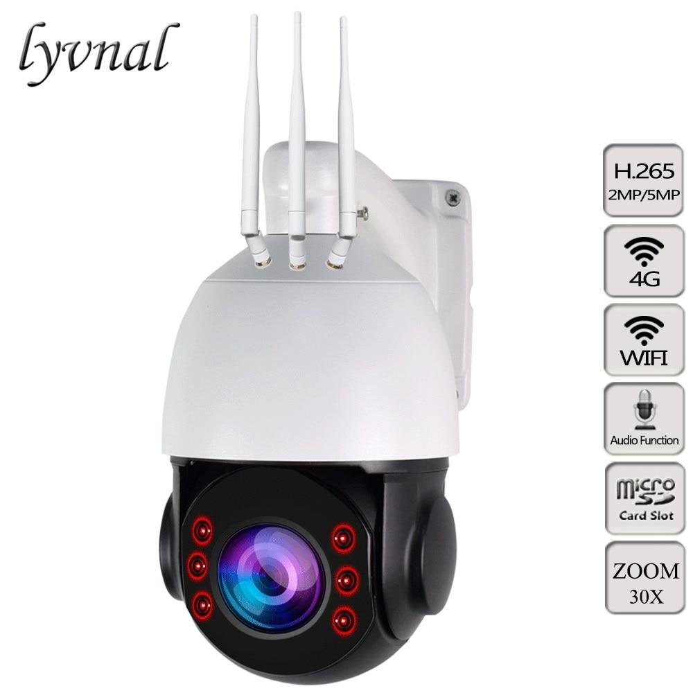 Cámara con tarjeta SIM H.265 3G y 4G, cámara IP inalámbrica de 5MP y 1080P, cámara PTZ con Wifi, cámara de velocidad 30X para exteriores, Zoom automático, ranura para tarjeta SD, Audio bidireccional